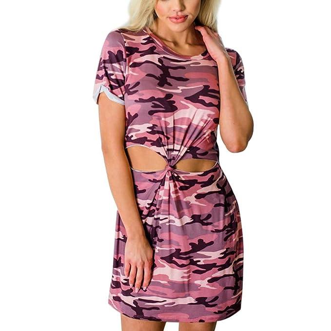 1bb76f3668e Outsta Women s Camouflage Print Hollow Boho Dress Beach Summer Sundress  Maxi Dress Pink M