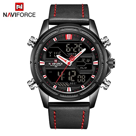HWCOO Relojes NAVIFORCE NF9138 Reloj de Cuero con Movimiento Doble Pantalla Japonesa para Hombres Fecha Luminosa (Color : 1): Amazon.es: Relojes