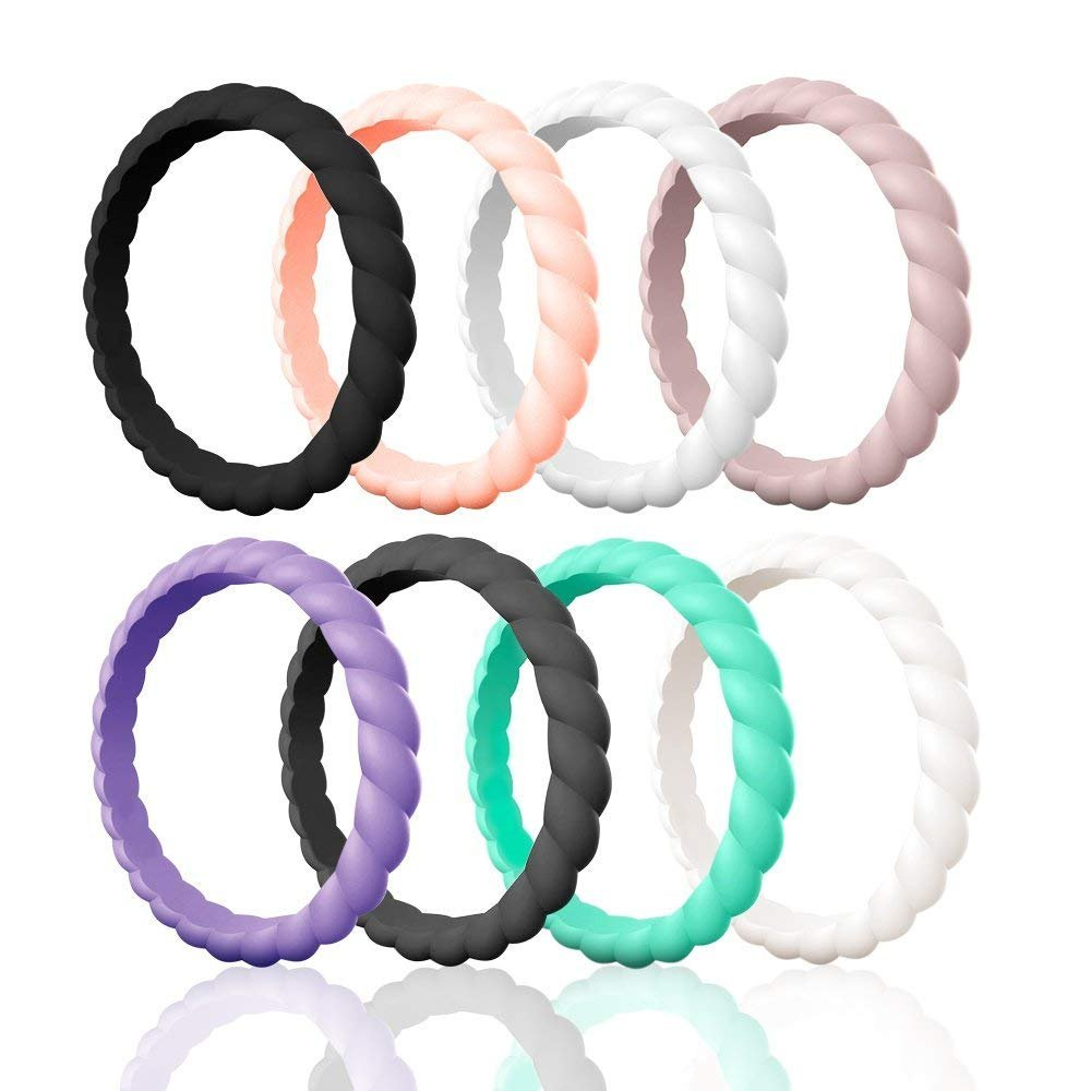 Egnaro Silicone Wedding Ring for Women,Thin and Stackble Braided Rubber Wedding Bands,No-Toxic,Skin Safe (13-Black,Rose Gold,White,Pink Sand,Ultra Violet,Black Gray,Mint Green,Ivory, 7(17.3mm)) by Egnaro
