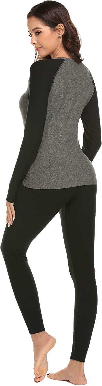 Ekouaer Womens Thermal Underwear Set Warm Long Johns Set Fleece Lined Base Layer Top /& Bottom