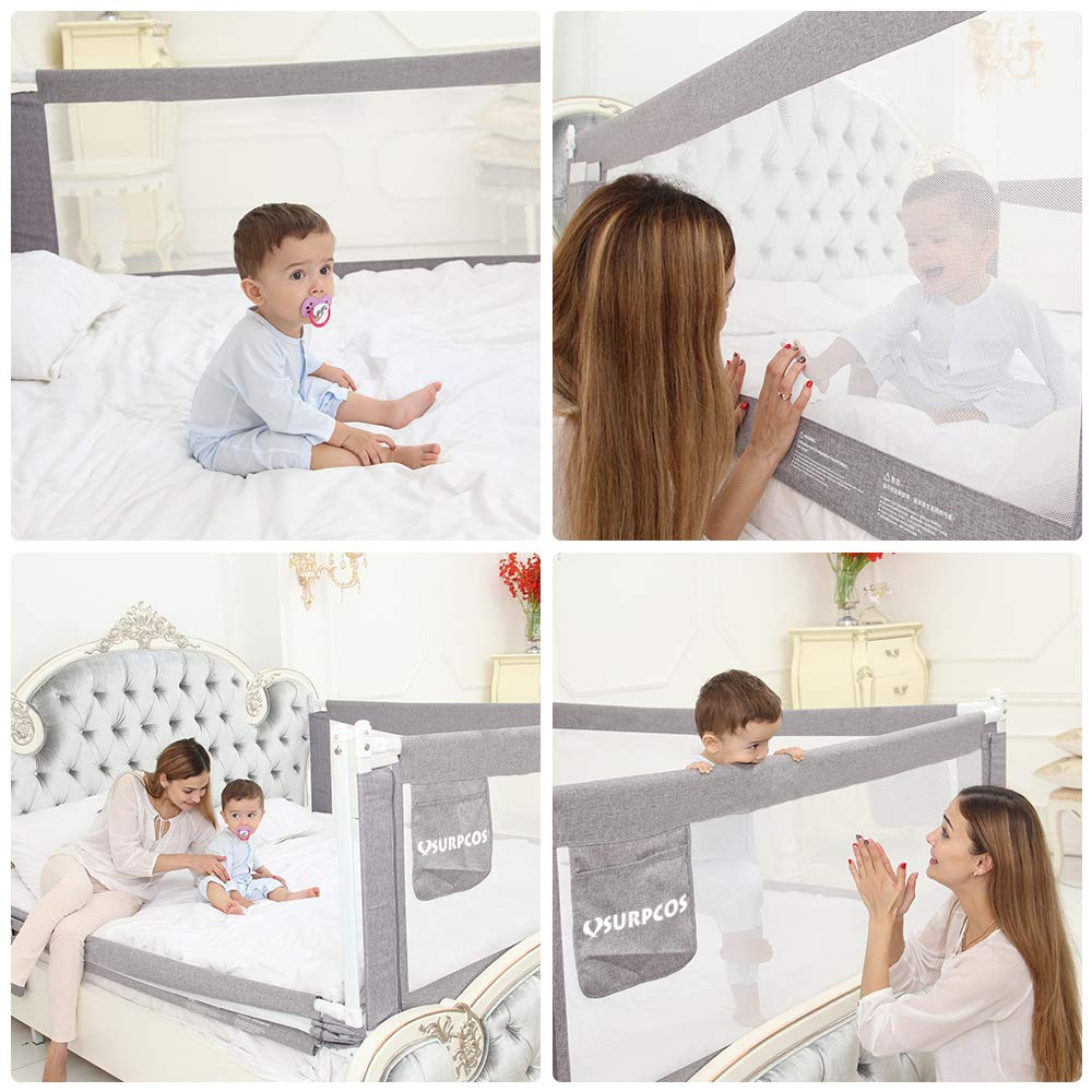SURPCOS 70'' Bed Rails for Toddlers - Extra Long Baby Bed Rail Guard for Kids Twin, Double, Full Size Queen & King Mattress [1-Side] (Gray) by SURPCOS (Image #2)
