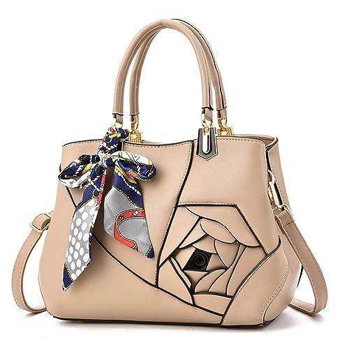 Luckywe Mujer carteras bolsos cuero Satchel diseñador Rosas Casual costura bolsa A95 Caqui: Amazon.es: Zapatos y complementos