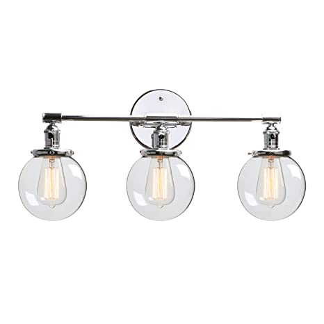 Phansthy 3 Lights Sconce Chrome Polished Bathroom Vanity Light Fixture With Three 5 6 Inches Globe Glass Canopy Chrome Polished