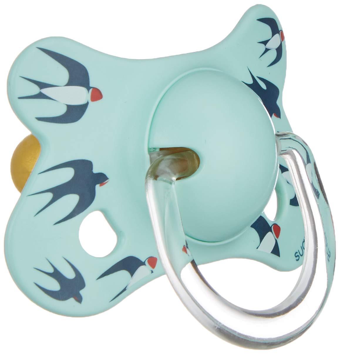 Suavinex 303043 - Chupete fisiológico látex, 4-18 meses, golondrinas, color verde: Amazon.es: Bebé