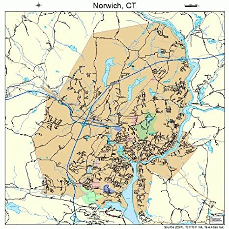 Amazon.com: Large Street & Road Map of Norwich, Connecticut ...
