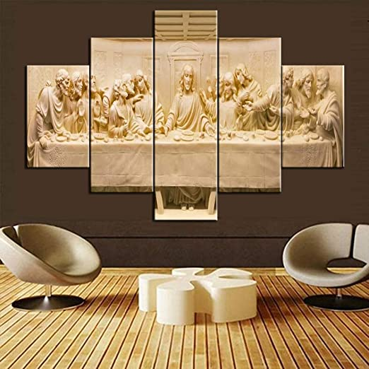 Amazon Com Christian Pictures For Wall The Last Supper Wall Decor Multi Panel Canvas Wall Art 5 Pcs Artwork Jesus Painting Home Decor For Living Room Giclee Framed Ready To Hang Posters And