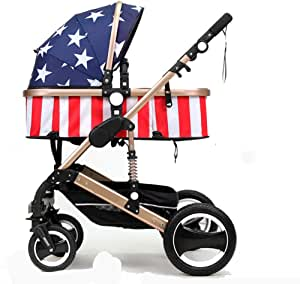 3 in 1 Baby Stroller Lightweight Stroller Baby Car High Landscape Stroller Baby Pram Strollers for 0-36 Months, Infant Toddler Pram Pushchair,E