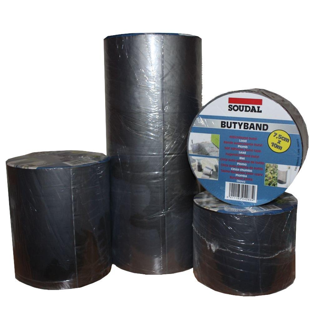 Soudal Butyband Dachreparatur Anschlussband Dichtband Gr. 75mm x 10m blei / graphit -> selbstklebend, wasserdicht