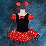 Dressy Daisy Girls Minnie Mouse Fancy Dresses Dance Costume with Headband Size 2-3T Red & Black