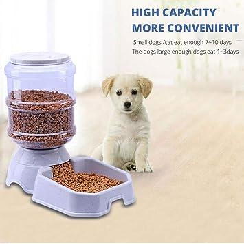 Highdas Alimentador automático de Mascotas, dispensador de Alimentos Dispensador de Agua para alimentador de Mascotas Juego de tazón para Perros y Gatos, ...