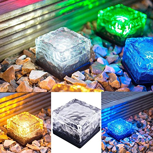 Sorive Waterproof Solar Path Ice Cube Rocks LED Frosted Glass Brick Paver Garden In-groud Buried Light for Outdoor Path Road Square Yard SRI01817 (RGB)