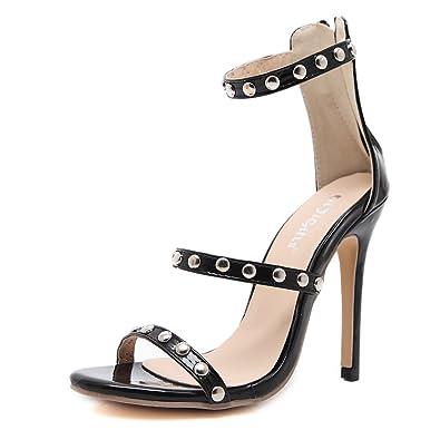 35882bf1af7 Gusha Sexy Studded High Heels Women s Slip Toe Sandals Stilettos Back  Zipper(Black 38