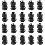 Cable Gland Lokman 20 Pack PG9 Plastic Waterproof Adjustable 4-8mm Cable Glands Joints With Gasket, Black (PG9)