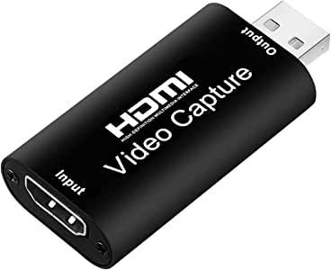Portable Audio Video Capture Cards HDMI to USB 3.0 1080P 4K Record Via DSLR Camcorder Action Cam for High Definition Acquisition, Live Broadcasting