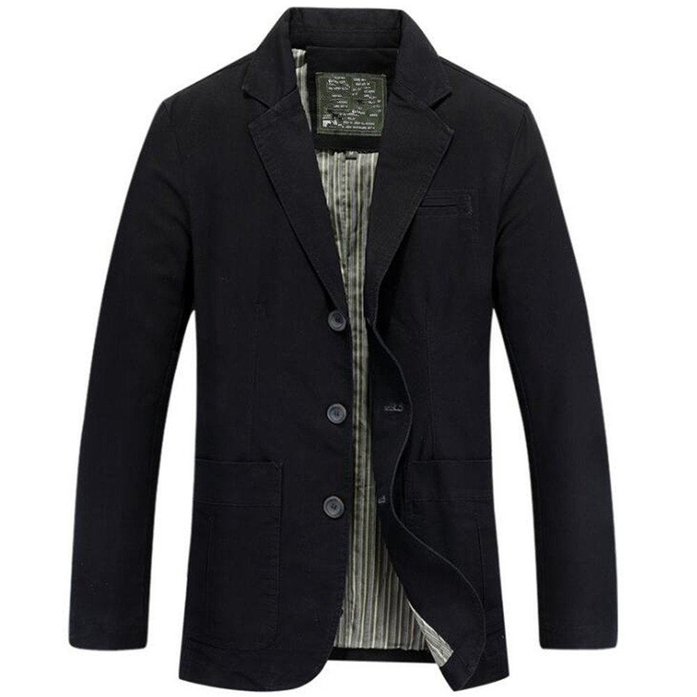 Newbestyle Men's Casual Solid Cotton Twill Suit Three-Buttons Blazer Jacket Black 2X-Large by Newbestyle