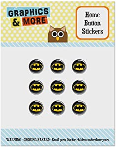 Batman Classic Bat Shield Logo Set of 9 Puffy Bubble Home Button Stickers Fit Apple iPod Touch, iPad Air Mini, iPhone 5/5c/5s 6/6s 7/7s Plus