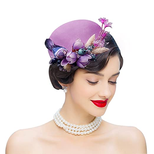 Women's Vintage Hats | Old Fashioned Hats | Retro Hats Edith qi Feather Fascinators Bird Wool Felt Sinamay Hats With Hair Clip Tea Party Derby $19.99 AT vintagedancer.com