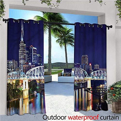 warmfamily Travel Outdoor Blackout Curtains Downtown Nashville Tenessee Outdoor Privacy Porch Curtains W84 x L84