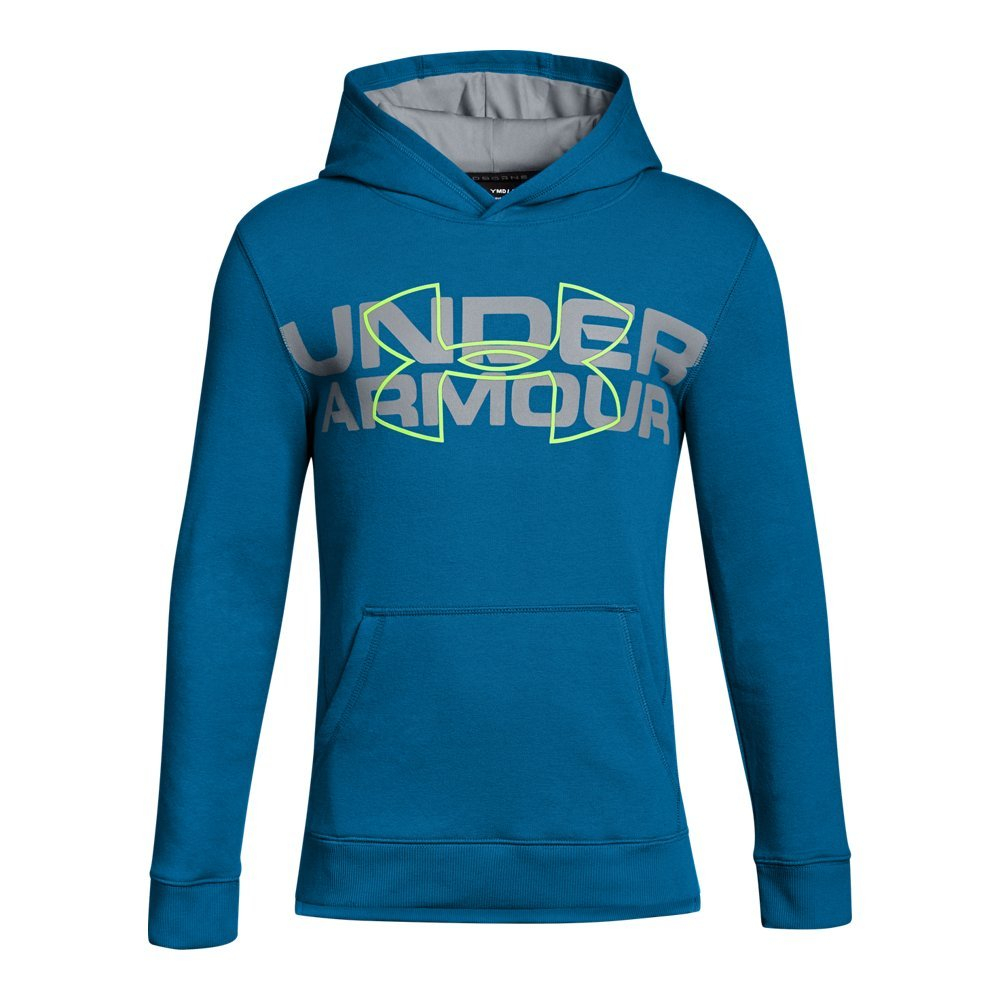 Under Armour Boys' Threadborne Logo Hoodie, Cruise Blue /Quirky Lime, Youth X-Small