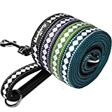 "Blueberry Pet Leashes For Dog 1"" by 4-Feet Long Jacquard Dog Leash in Black with Neoprene Padded Handle, Large"