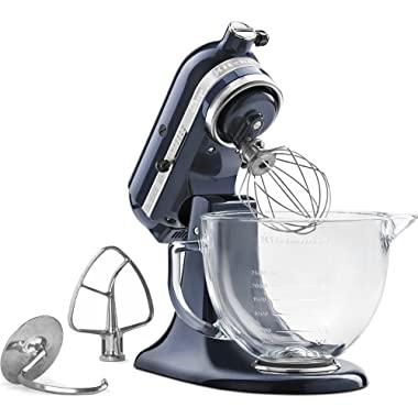 KitchenAid KSM155GBUB Artisan Design Series Stand Mixer with Glass Bowl, 5 quart, Blueberry
