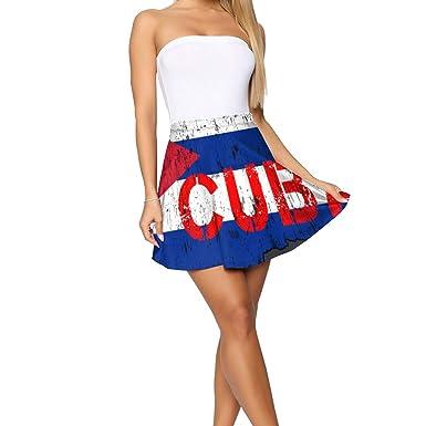 Linshuqidianzi - Mini Faldas elásticas con diseño de Bandera ...