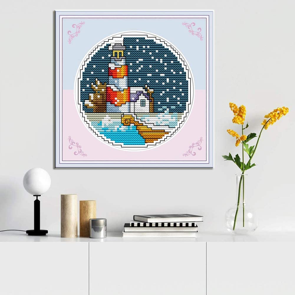 WOWDECOR House Seaside Seagull Spring 11CT Stamped DIY DMC Needlework Easy Beginners Cross Stitch Embroidery Kits for Adults Kids Spring