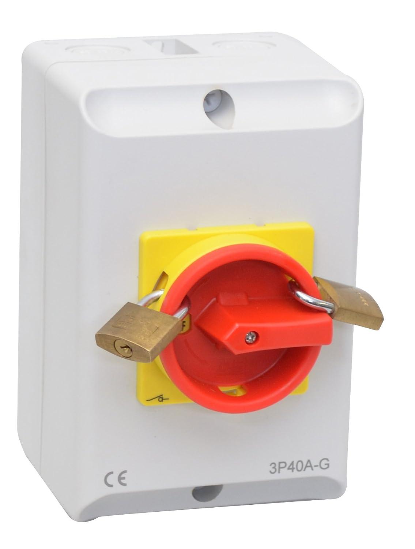 Hauptschalter 16A 3-polig im Gehäuse, Lasttrennschalter, Not-Aus ...