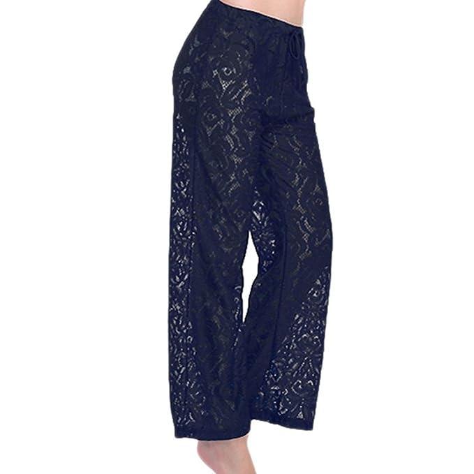 37f70bca117 Amazon.com: Quartly Women Sexy Trend Lace Bikini Pants Beach Pants Swimwear  Covers Pants Swimsuit Swimwear (Free Size, Black): Clothing