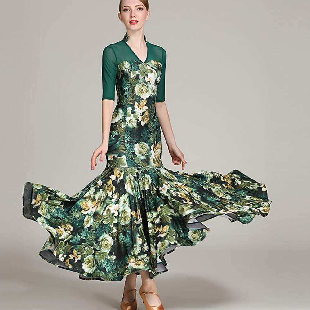 女性ラテンダンス衣装ベリーダンススカート緑手作りミルクシルクタンゴ社交ダンス服ガウンフルスカート hemlines XL 2XL  XXL