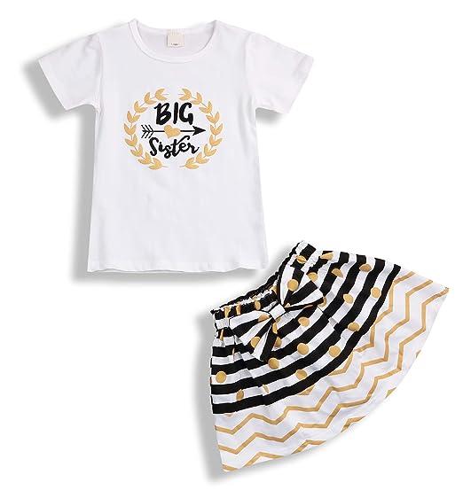 911d3b3c2 Newborn Little Sister Baby Little Girls Skirts Leggings Pants Gifts Outfits  Set (Big Sister Short