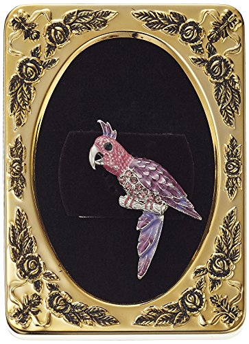 Enameled Bird Pin (1928 Jewelry Framed Silver-Tone Purple and Pink Parakeet Bird Pin)