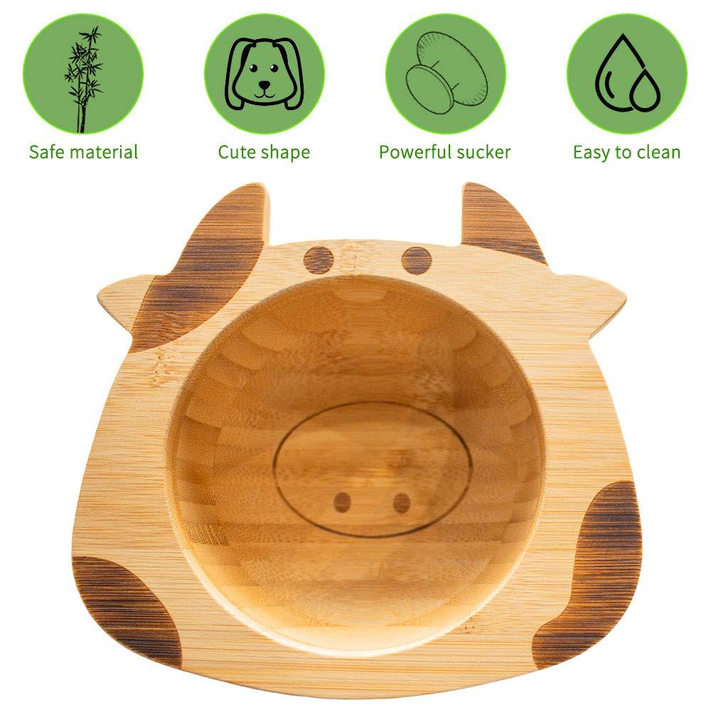 LBLA Kinder Bamboo Geschirr Set Kindersch/üssel mit Saugnapf Baby L/öffel Kuh