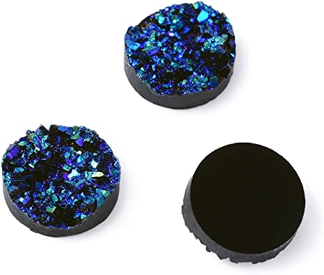 DarkTurquoise 12mm x 5mm 10 pcs Drusy Resin Cabochons Flat Round