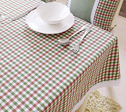 Hctina Nappes À Manger Table De Café Tissu Couvercle Grille Verte 140*220Cm