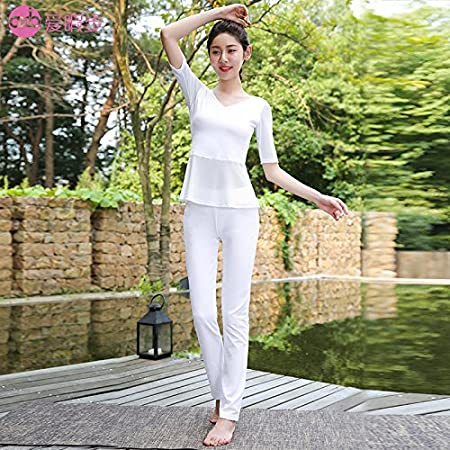 a1404744fb2e2 Yoga suits female in autumn and winter high-end Yoga wear slimming fitness  dance gauze sportswear,M,A7320N white X7325N white: Amazon.co.uk: DIY &  Tools
