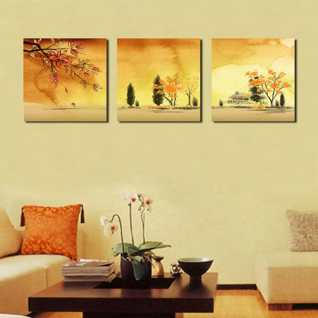 Lemon Tree Art-Large Landscape in Autumn, Picture Painting on Canvas ...