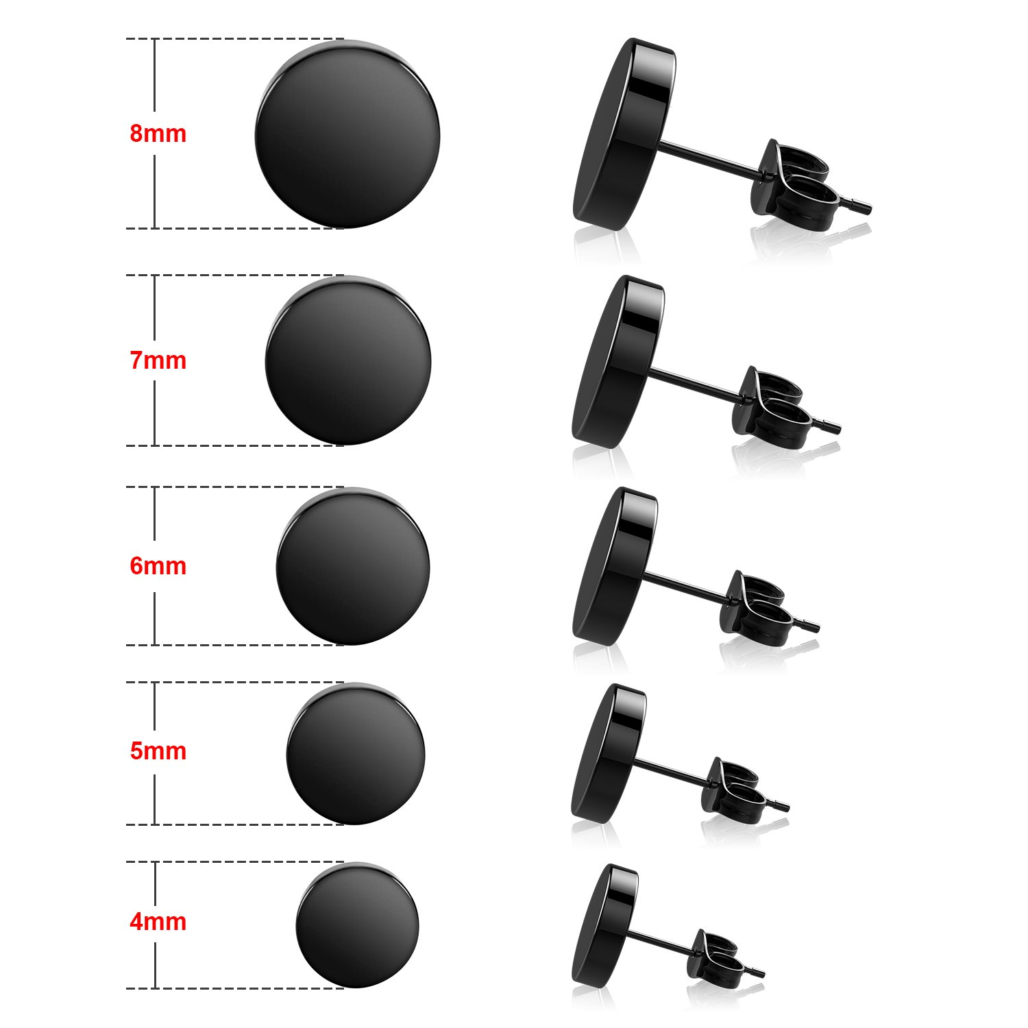 UHIBROS 316L Surgical Stainless Steel Stud Earrings Unisex Tunnel Punk Style Round Mens Womens Hypoallergenic Piercing Ear Stud 5 Pairs 4mm-8mm (Black)
