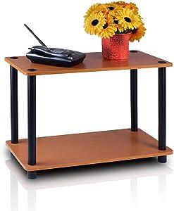 Furinno Turn-N 2-Tier No Tools Tube Shelf/End Table, Single, Light Cherry/Black