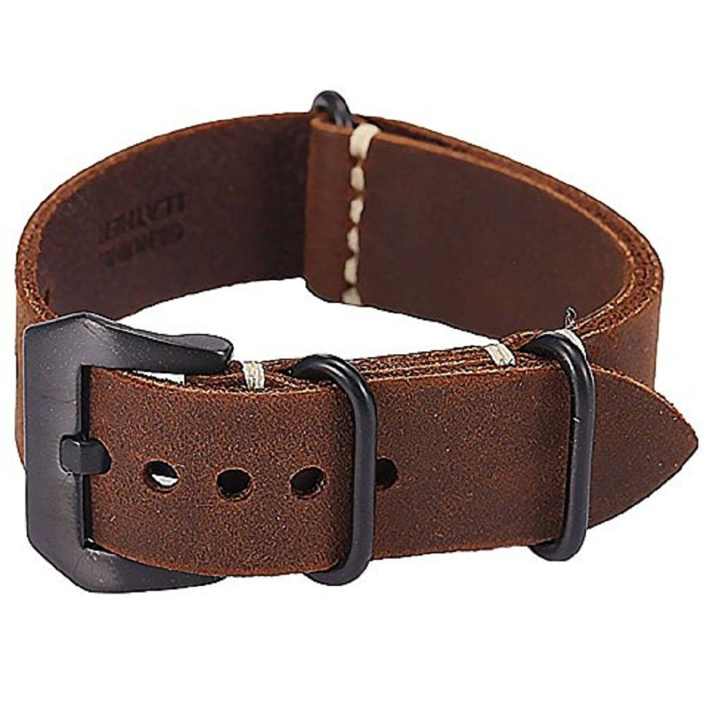 Brown 24mm Suunto Core Bell & Ross Watch Band Strap Crazy Horse Leather Buckle lugs+Adapter by YIYU