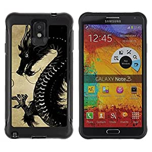 Fuerte Suave TPU GEL Caso Carcasa de Protección Funda para Samsung Note 3 / Business Style Black Chinese Dragon