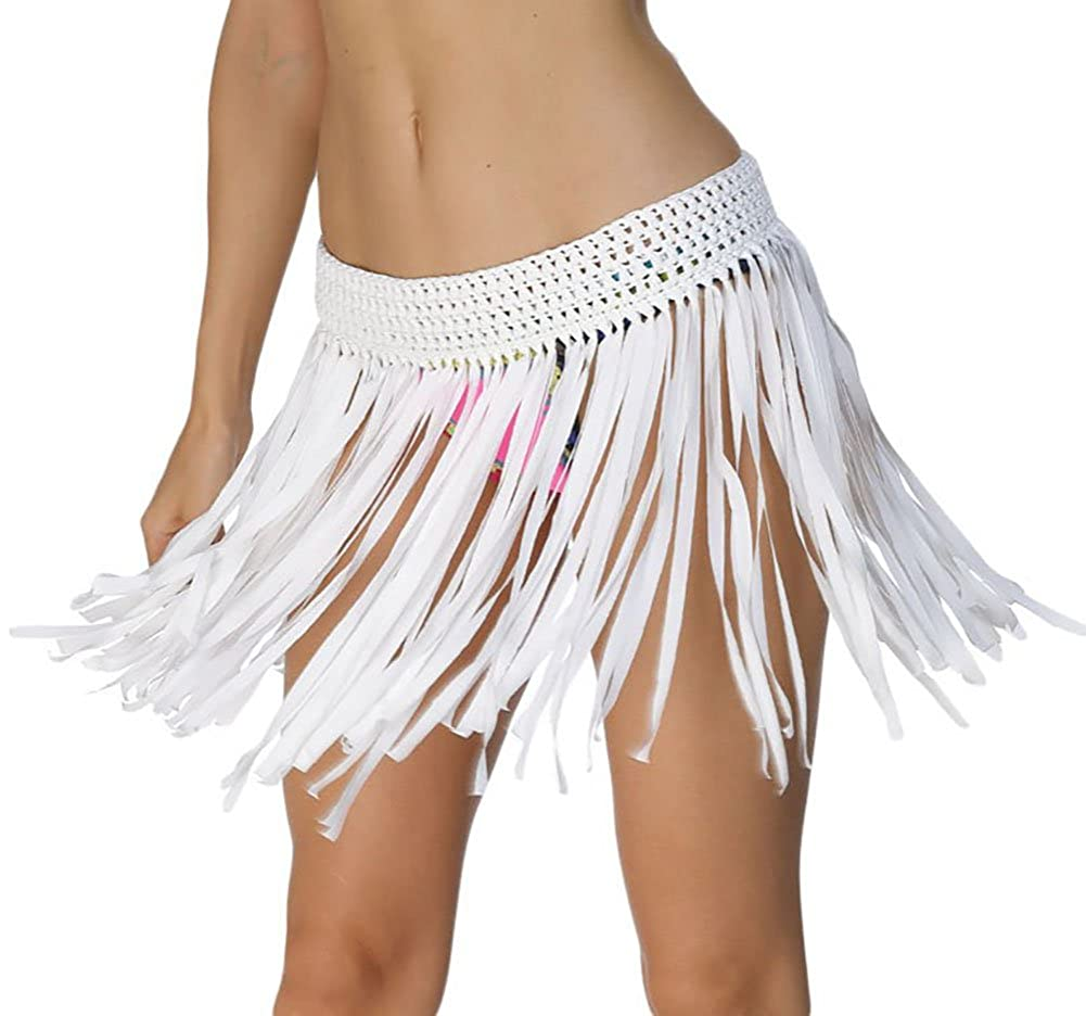 7c1761a0f7f34 Women Swim Skirt Crochet Tassel Fringe Beach Cover up Mini Skirt at Amazon  Women's Clothing store: