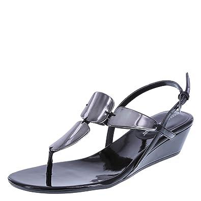 fd451ac82 Montego Bay Club Black Women s Mork Wedge Sling Sandal 5 Regular