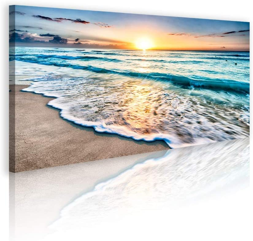 Duvez Large Beach Canvas Wall Art - 12 Variations - Mounting Accessories Included - Premium Wall Art for Living Room, Office, Bedroom, Bathroom & More - Ocean Sunset Photography - Beach Wall Art Decor