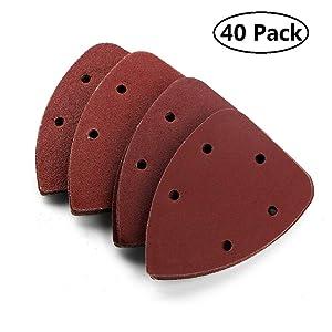 NUOLUX 40pcs Grit 14cm Mouse Sander Pads Sanding Sheets Discs Mixed 40 80 120 240