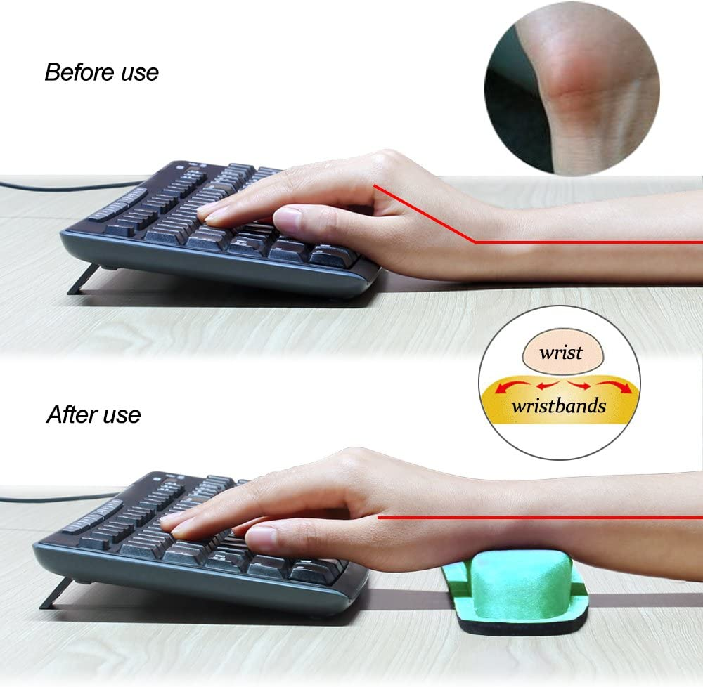 NEX Ergonomic Mouse Pad with Wrist Support Laptop Memory Foam Keyboard Wrist Rest for Computer Black