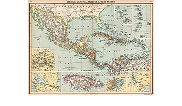 Panama Mexico Map.Amazon Com Mexico Central America West Indies Panama Proposed