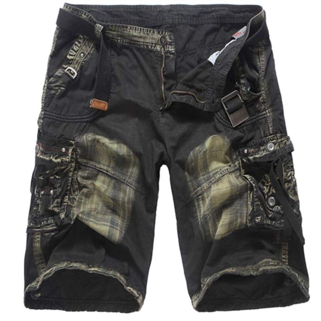 Dacawin Multi-Pockets Casual Patchwork Cargo Short Pants Men Fit Outdoors Work Beach Trousers