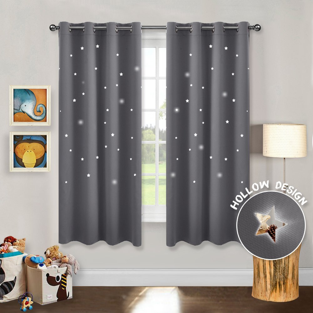PONY DANCE Blackout Star Curtains - Romantic Starry Sky Hollow Out Star Creation Thermal Insulated Ring Top Curtains/Drapes / Window Treatments Girl's Room, W 52 x L 63 in, Grey, 1 Pair