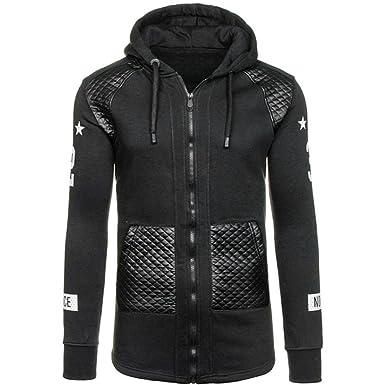b079953494ab22 Jacke herren Herbst Winter Tasche Leder Warme Kapuzenpulli Mantel Outwear  Pullover By Dragon (Schwarz,